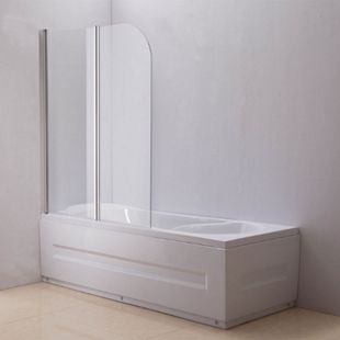 CLP NANO Duschabtrennung für die Badewanne Anschlag links   Faltbarer Badewannenaufsatz aus Sicherheisglas   2 teilige Duschwand - Bild 1