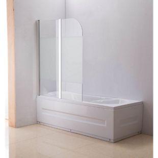 CLP NANO Duschabtrennung für die Badewanne Anschlag links | Faltbarer Badewannenaufsatz aus Sicherheisglas | 2 teilige Duschwand... halbmilchglas - Bild 1