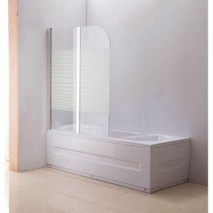 CLP NANO Duschabtrennung für die Badewanne Anschlag links   Faltbarer Badewannenaufsatz aus Sicherheisglas   2 teilige Duschwand... milchglas-gestreift - Bild 1