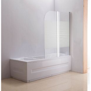 NANO Duschabtrennung für die Badewanne Anschlag rechts | Faltbarer Badewannenaufsatz aus Sicherheisglas | 2 teilige Duschwand... milchglas-gestreift - Bild 1