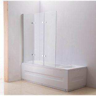NANO Duschabtrennung für die Badewanne | Faltbarer Badewannenaufsatz aus Sicherheisglas | Anschlag links oder rechts... klarglas - Bild 1