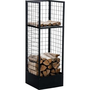 CLP Metall-Kaminholzständer FORREST | Kaminholzhalter aus Metall in schwarz | Stabile Stapelhilfe für Brennholz - Bild 1