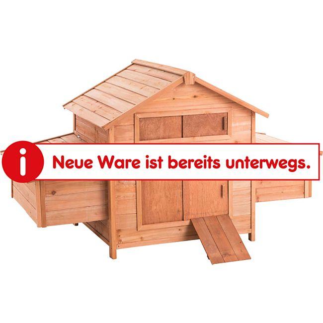 CLP Holz-Hühnerkäfig mit zwei Nistkästen I Hühnerhaus aus Tannenholz I Pflegeleichter Hühnerstall mit Holzrampe I Legebox mit ausziehbarem Auffangbecken - Bild 1