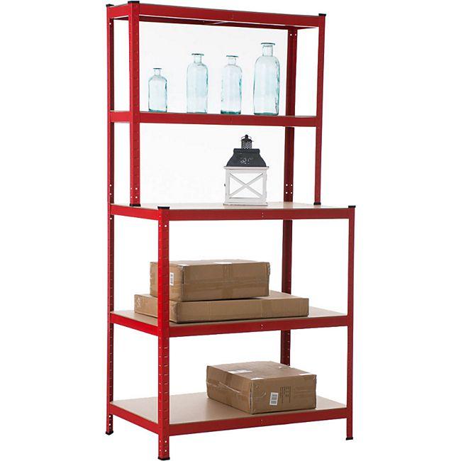 Werkbank Schwerlastregal, Metall, verzinkt, Tragkraft 875 kg, 5 Farben, 200 x 100 x 60 cm... rot - Bild 1