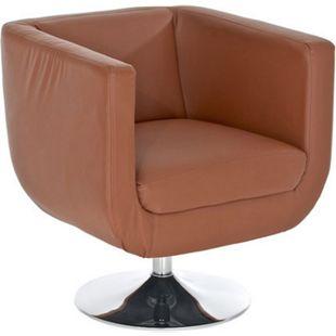CLP Design Loungesessel COLORADO im Retrostil | Gepolsterter Cocktailsessel mit Metallgestell in Chrom-Optik | Drehbarer Clubsessel mit Trompetenfuß | In verschiedenen Farben erhältlich - Bild 1