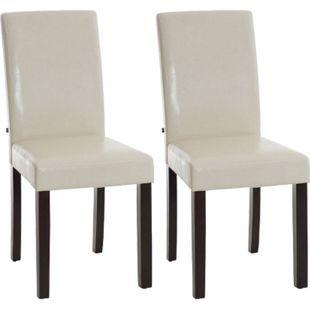CLP 2x Esszimmerstuhl INA mit dunkel-braunem Holzgestell und Kunstlederbezug | Lehnstuhl mit einer Sitzhöhe von 47 cm - Bild 1