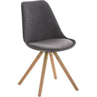 CLP Retrostuhl PEGLEG mit Stoffbezug I Gepolsterter Schalenstuhl mit Holzbeinen und einer Sitzhöhe 46 cm - Bild 1