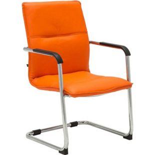 CLP Freischwinger SEATTLE mit Armlehne I Konferenzstuhl mit hochwertiger Polsterung und Kunstlederbezug... orange - Bild 1