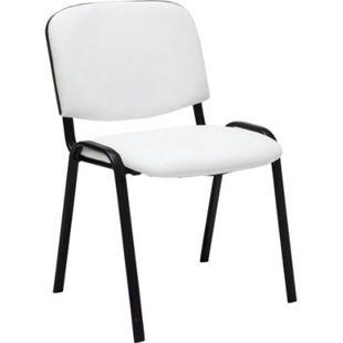 CLP Besucherstuhl KEN mit hochwertiger Polsterung und Kunstlederbezug I Stapelstuhl mit robustem Metallgestell und gepolsterter Rückenlehne... weiß - Bild 1