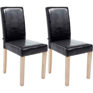 CLP 2x Esszimmerstuhl INA mit Holzgestell und Kunstlederbezug | Lehnstuhl mit einer Sitzhöhe von 47 cm | In verschiedenen Farben erhältlich - Bild 1