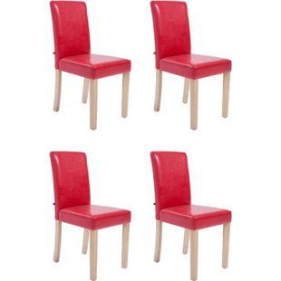 CLP 4 x Esszimmerstuhl INA mit Kunstlederbezug und hochwertiger Sitzpolsterung I 4 x Lehnstuhl mit robustem naturbelassenem Holzgestell I In verschiedenen Farben erhältlich - Bild 1