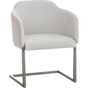 CLP Edelstahl Freischwinger-Stuhl MAGNUS mit Stoffbezug, Besucherstuhl mit Armlehne, Konferenzstuhl gepolstert | in verschiedenen Farben - Bild 1