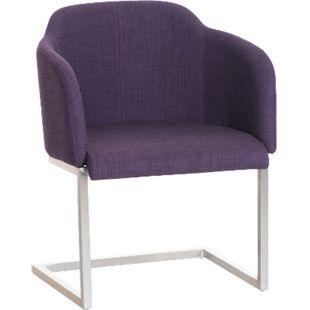 CLP Edelstahl Freischwinger-Stuhl MAGNUS mit Stoffbezug, Besucherstuhl mit Armlehne, Konferenzstuhl gepolstert | in verschiedenen Farben... lila - Bild 1