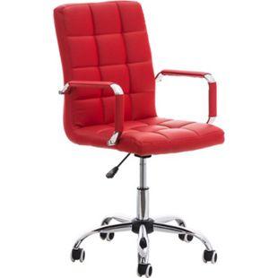 CLP Bürostuhl DELI V2 mit Kunstlederbezug und hochwertiger Polsterung I Drehstuhl mit höhenverstellbarer Sitzhöhe... rot - Bild 1