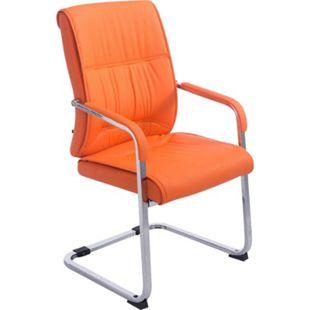 CLP XXL-Freischwinger ANUBIS mit Kunstlederbezug und gepolsterter Sitzfläche I Pflegeleichter Konferenzstuhl mit Armlehne... orange - Bild 1