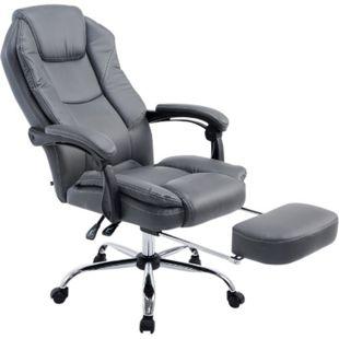 CLP Bürostuhl CASTLE mit Kunstlederbezug I Ergonomischer Bürosessel mit höhenverstellbarer Sitzhöhe I Drehstuhl mit ausziehbarer Fußablage... grau - Bild 1