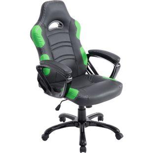CLP Bürostuhl RICARDO XL mit hochwertiger Polsterung und Kunstlederbezug I Höhenverstellbarer Drehstuhl I In verschiedenen Farben erhältlich... schwarz/grün - Bild 1