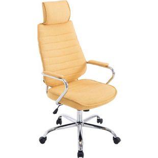 CLP Bürostuhl RAKO mit hochwertiger Polsterung und Stoffbezug | Höhenverstellbarer Chefsessel mit Armlehnen... gelb - Bild 1