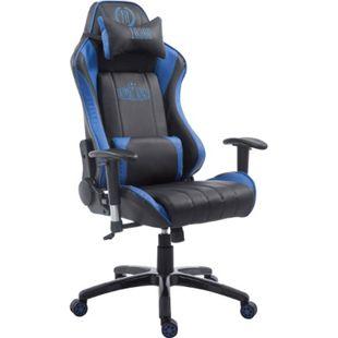 CLP Racing Bürostuhl SHIFT XL mit Kunstlederbezug l Gamingstuhl mit Leichtlaufrollen l Höhenverstellbarer Drehstuhl... schwarz/blau, ohne Fußablage - Bild 1