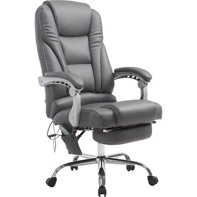 CLP Chefsessel Pacific Kunstleder mit Massagefunktion l Höhenverstellbarer Bürostuhl mit ausziehbarer Fußablage l Max. belastbar bis 150 kg - Bild 1