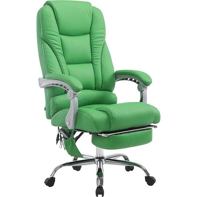 CLP Chefsessel Pacific Kunstleder mit Massagefunktion l Höhenverstellbarer Bürostuhl mit ausziehbarer Fußablage l Max. belastbar bis 150 kg... grün - Bild 1