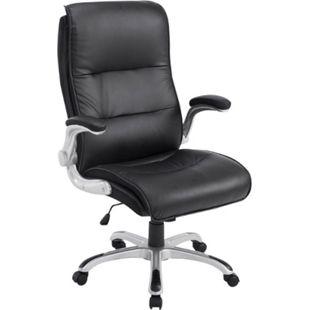 CLP Bürostuhl XXL VILLACH mit Kunstlederbezug I Höhenverstellbarer Schreibtischstuhl mit klappbaren Armlehnen I Drehstuhl mit Laufrollen... schwarz - Bild 1