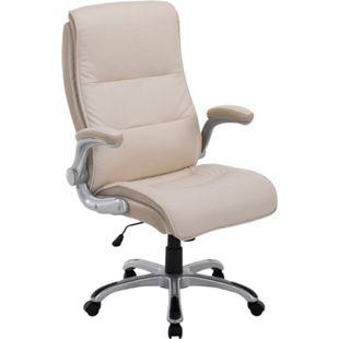 CLP Bürostuhl XXL VILLACH mit Kunstlederbezug I Höhenverstellbarer Schreibtischstuhl mit klappbaren Armlehnen I Drehstuhl mit Laufrollen... creme - Bild 1