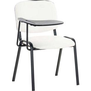 CLP Besucherstuhl KEN mit Klapptisch | Robuster Konferenzstuhl mit gepolsterter Sitzfläche und Kunstlederbezug... weiß - Bild 1