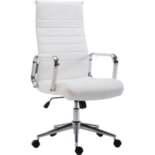 CLP Drehstuhl KOLUMBUS mit Kunstlederbezug I Chefsessel mit stufenloser Sitzhöhenverstellung I Bürosessel mit Laufrollen... weiß - Bild 1