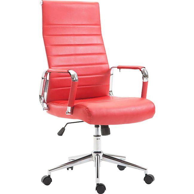 CLP Drehstuhl KOLUMBUS mit Kunstlederbezug I Chefsessel mit stufenloser Sitzhöhenverstellung I Bürosessel mit Laufrollen... rot - Bild 1