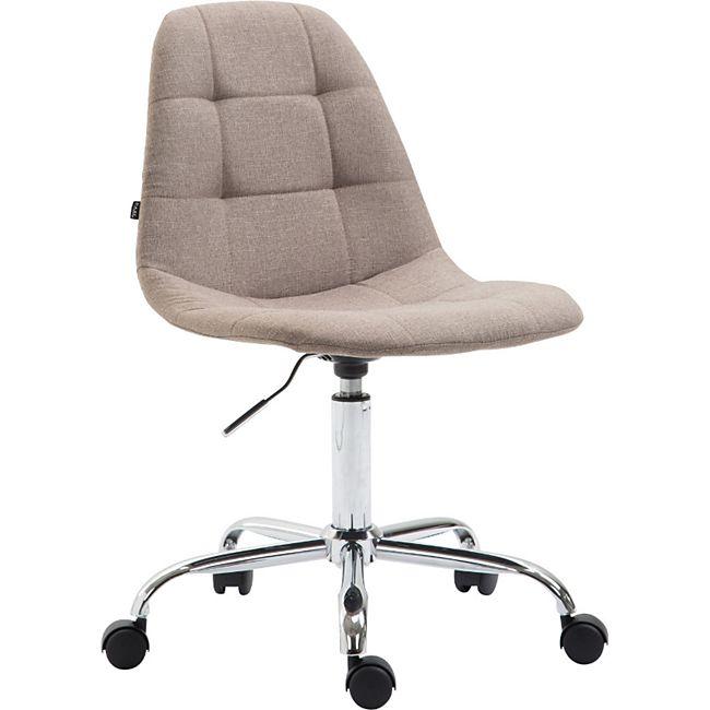 CLP Bürostuhl Reims Mit Stoffbezug I Schreibtischstuhl Mit Gestepptem Sitz I Höhenverstellbarer Arbeitsstuhl Mit Metallgestell... taupe - Bild 1