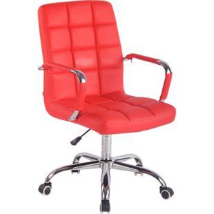 CLP Bürostuhl DELI mit Kunstlederbezug und hochwertiger Polsterung I Drehstuhl mit höhenverstellbarer Sitzhöhe... rot - Bild 1