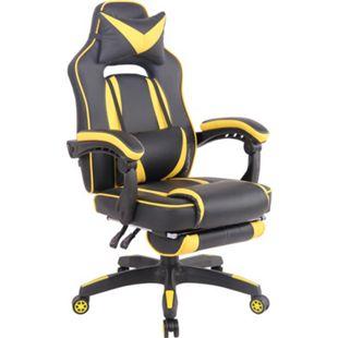 CLP Bürostuhl Heat Mit Kunstlederbezug I Gamingstuhl mit Fußablage I Höhenverstellbar I Computerstuhl mit Armlehnen... schwarz/gelb - Bild 1