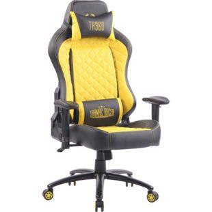 CLP Bürostuhl RAPID mit Kunstlederbezug I Schreibtischstuhl mit verstellbaren Armlehnen I Drehstuhl mit hochwertiger Polsterung... schwarz/gelb - Bild 1