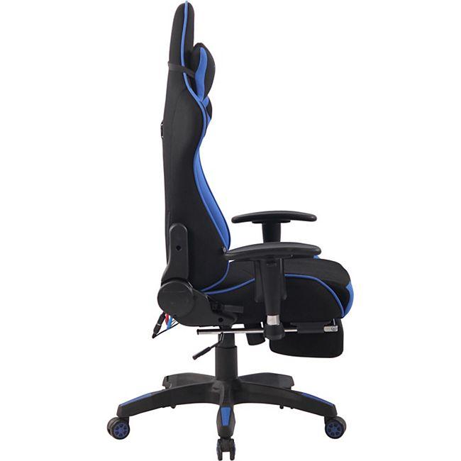 CLP Chefsessel Turbo XFM Stoff mit Massagefunktion l Höhenverstellbarer Bürostuhl mit ausziehbarer Fußablage und beheizbarem Sitzbereich, Farbe:schwarz/weiß