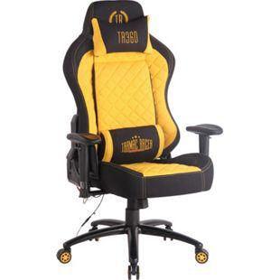 CLP Bürostuhl Rapid XM Mit Stoffbezug Und Massagefunktion I Schreibtischstuhl Mit Verstellbaren Armlehnen Und Beheizbarem Sitzbereich... schwarz/gelb - Bild 1
