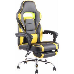 CLP Bürostuhl FUEL mit hochwertiger Polsterung und Kunstlederbezug I Höhenverstellbarer Gamingstuhl mit Metallgestell in Chromoptik... schwarz/gelb - Bild 1