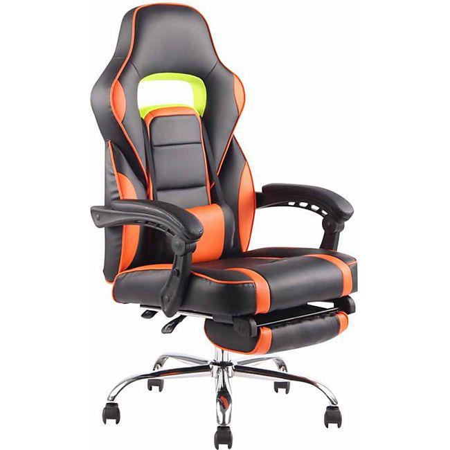 CLP Bürostuhl FUEL mit hochwertiger Polsterung und Kunstlederbezug I Höhenverstellbarer Gamingstuhl mit Metallgestell in Chromoptik... schwarz/orange - Bild 1