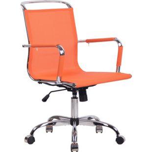 CLP Bürostuhl Barnet Mit Netzbezug I Chefsessel Mit Lehne I Höhenverstellbarer Schreibtischstuhl Mit Chromgestell... orange - Bild 1
