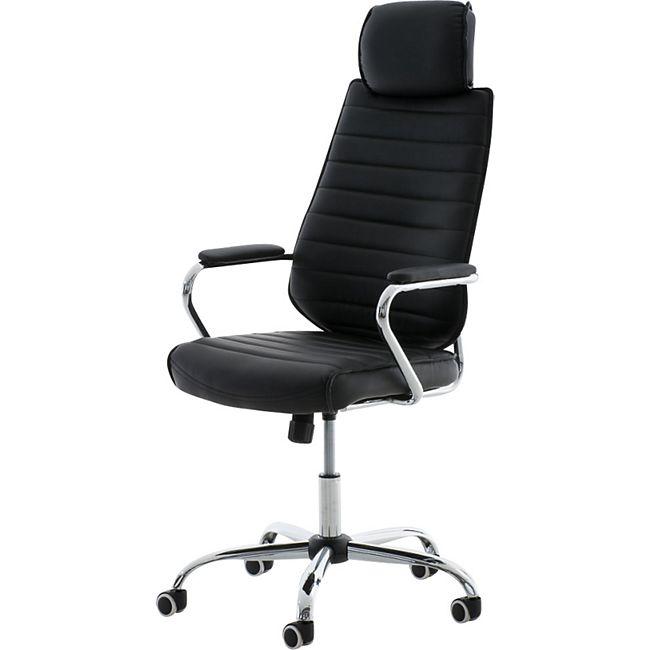 CLP Bürostuhl RAKO mit Kopfstütze und Laufrollen | Höhenverstellbarer Schreibtischstuhl mit Kunstlederbezug - Bild 1
