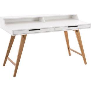 CLP Holz-Schreibtisch Eaton Mit Eichenholzgestell I Bürotisch Mit 2 Schubladen Und Großer Arbeitsfläche - Bild 1