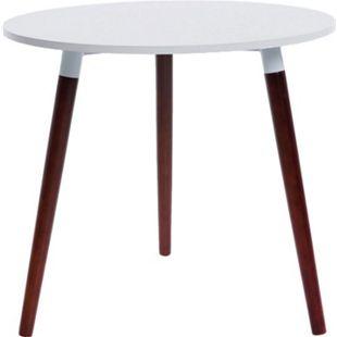 CLP Retro-Design Küchentisch ANSGAR mit 3 Holzbeinen I hochwertige Materialen I rund Ø 80 cm I Tischhöhe 75 cm... weiß, Cappuccino - Bild 1