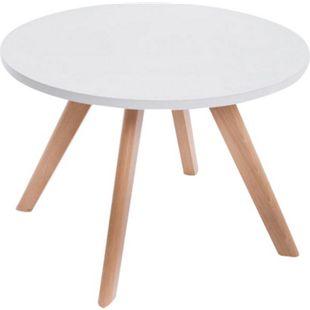 CLP Design-Beistelltisch EIRIK aus Holz I Runder Teetisch mit matt weißer Tischplatte I Kompakter Couchtisch mit Holzbeinen - Bild 1