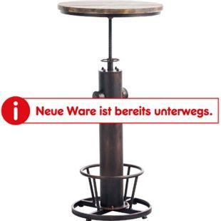 CLP Stehtisch Ruhr Mit Fußablage I Bartisch Mit Metallgestell Und Tischplatte Aus Kiefernholz... bronze - Bild 1