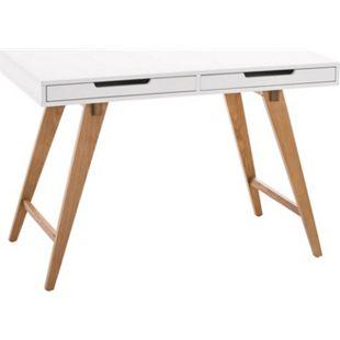 CLP Schreibtisch PORTO V2 aus MDF und Eichenholz I Bürotisch mit 2 Schubladen und großer Arbeitsfläche I verschiedene Größen - Bild 1