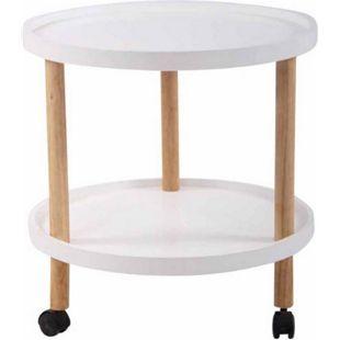 CLP Beistelltisch ODENSE I Couchtisch Mit MDF Tischplatte I Tisch Mit Kautschukholz I 3 Laufrollen... weiß - Bild 1