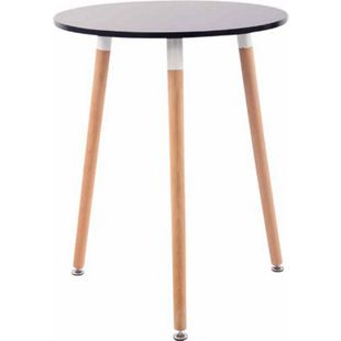 CLP Retro-Design Küchentisch AMALIE mit 3 Holzbeinen I hochwertige Materialen I rund Ø 60 cm I Tischhöhe 75 cm... schwarz, Natura - Bild 1