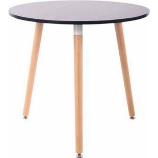 CLP Retro-Design Küchentisch ANSGAR mit 3 Holzbeinen I hochwertige Materialen I rund Ø 80 cm I Tischhöhe 75 cm... schwarz, Natura - Bild 1