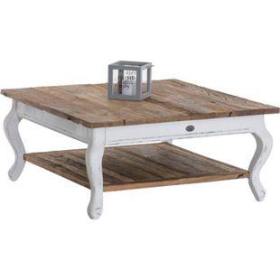 CLP Couchtisch ENEAS aus recyceltem Ulmenholz | Kompakter Holztisch mit integrierter Ablage | Wohnzimmertisch mit weißem Untergestell - Bild 1