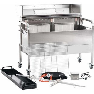 CLP Edelstahl Spanferkel-Grill MATTHEW mit Motor | Holzkohlegrill mit zwei Grillrosten | Gasgrill | Aufsteckfläche 130 cm | Deckel mit Temperaturanzeige - Bild 1